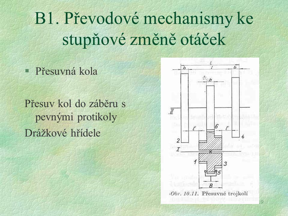 B1. Převodové mechanismy ke stupňové změně otáček