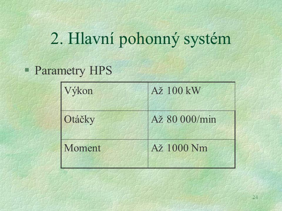 2. Hlavní pohonný systém Parametry HPS Výkon Až 100 kW Otáčky