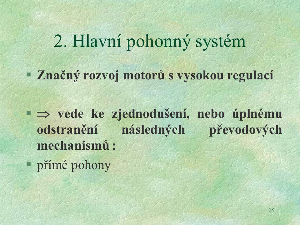 2. Hlavní pohonný systém Značný rozvoj motorů s vysokou regulací