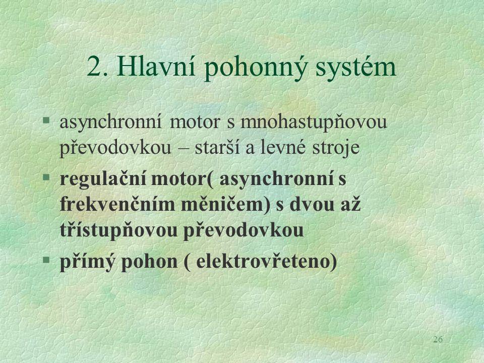 2. Hlavní pohonný systém asynchronní motor s mnohastupňovou převodovkou – starší a levné stroje.