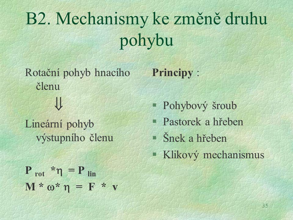 B2. Mechanismy ke změně druhu pohybu