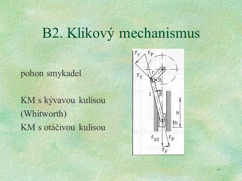 B2. Klikový mechanismus pohon smykadel KM s kývavou kulisou