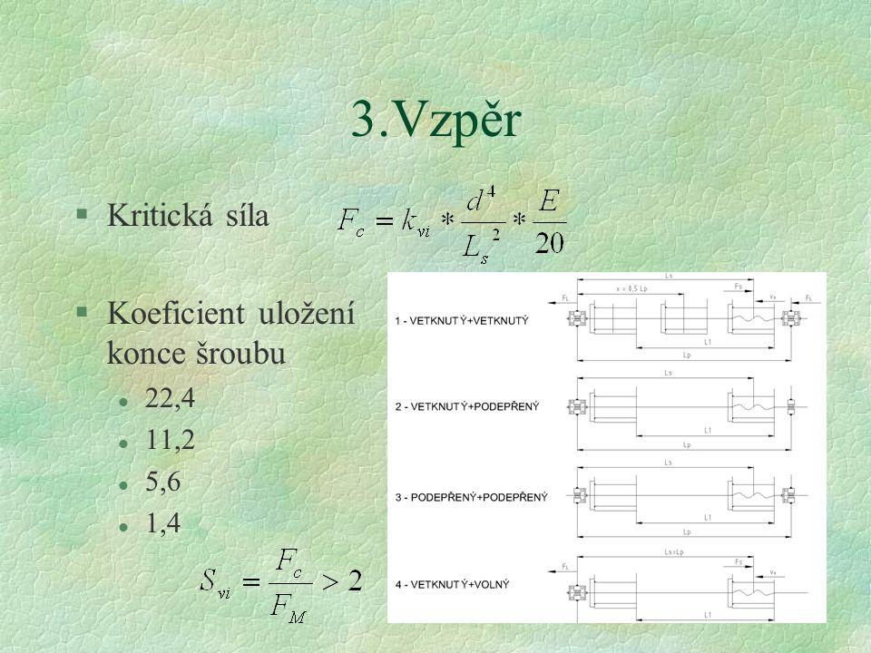 3.Vzpěr Kritická síla Koeficient uložení konce šroubu 22,4 11,2 5,6