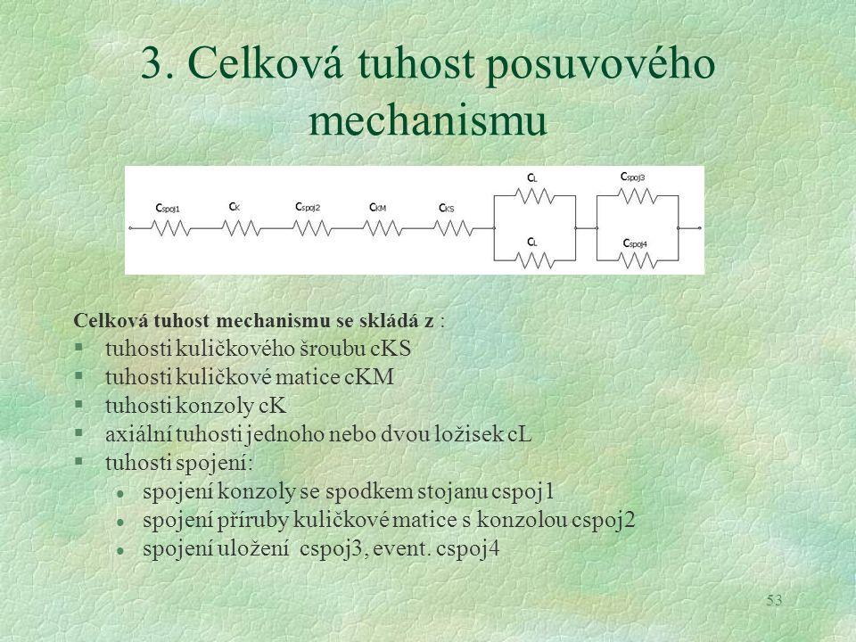 3. Celková tuhost posuvového mechanismu