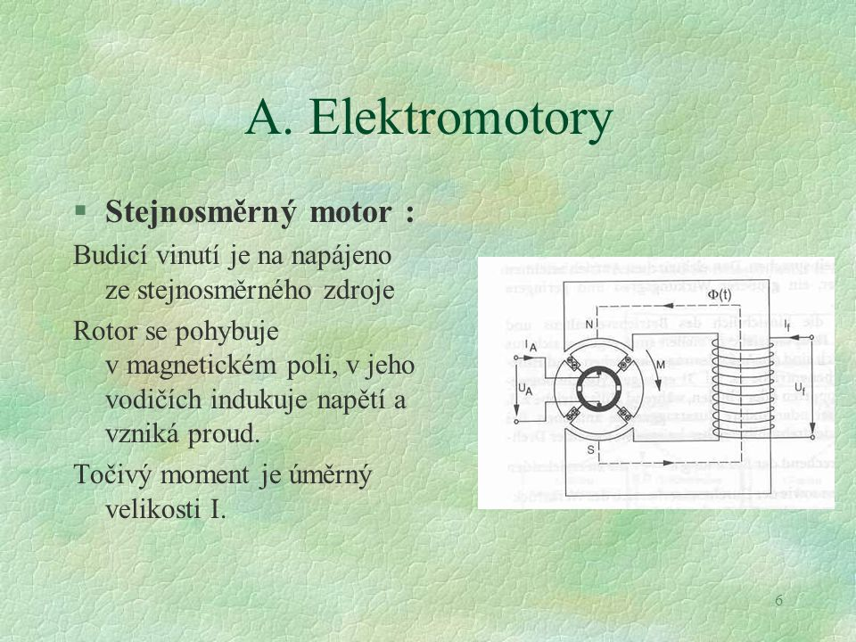 A. Elektromotory Stejnosměrný motor :