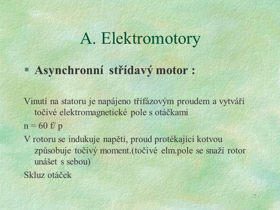 A. Elektromotory Asynchronní střídavý motor :