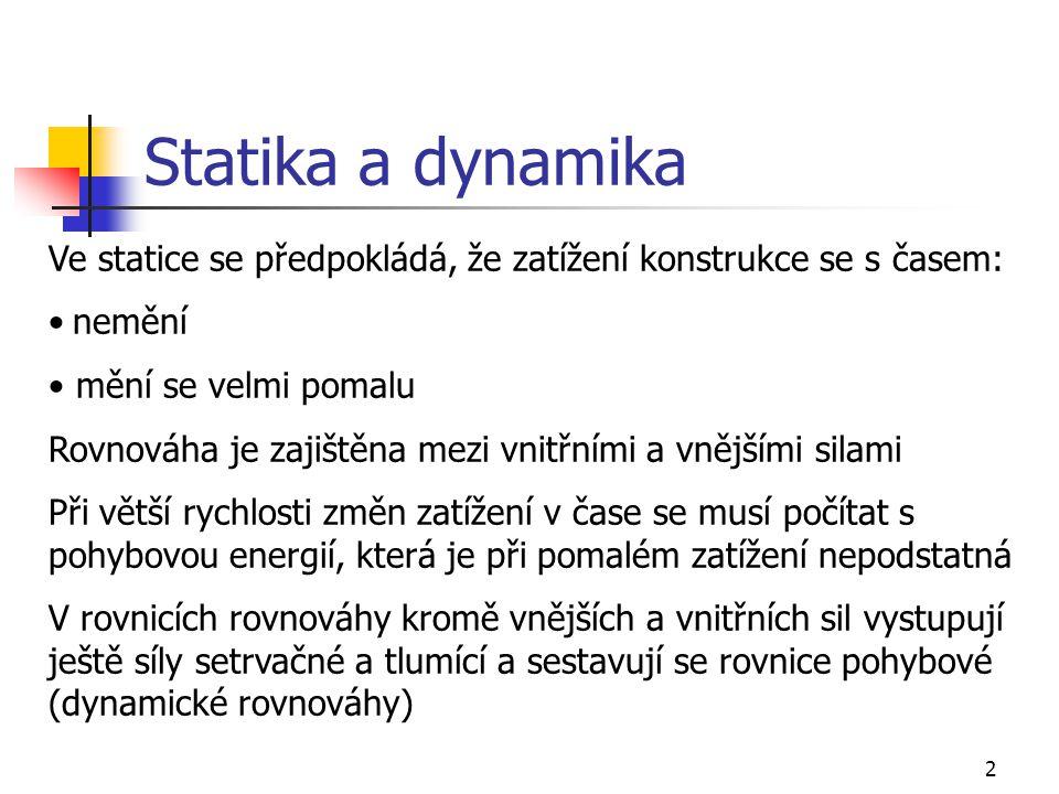 Statika a dynamika Ve statice se předpokládá, že zatížení konstrukce se s časem: nemění. mění se velmi pomalu.