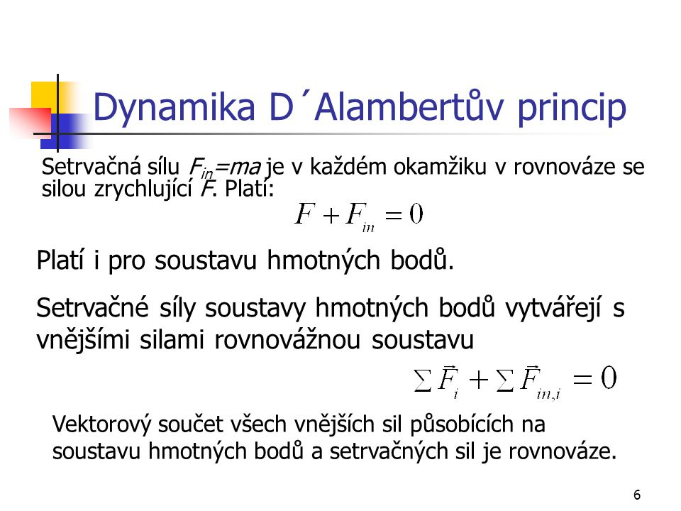 Dynamika D´Alambertův princip