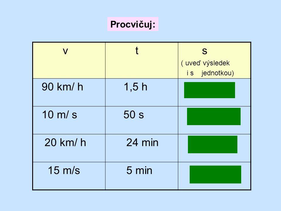 v t s 90 km/ h 1,5 h 120 km 10 m/ s 50 s 500 m 20 km/ h 24 min 8 km