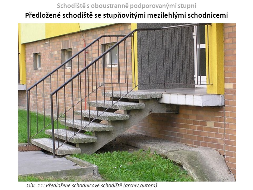 Předložené schodiště se stupňovitými mezilehlými schodnicemi