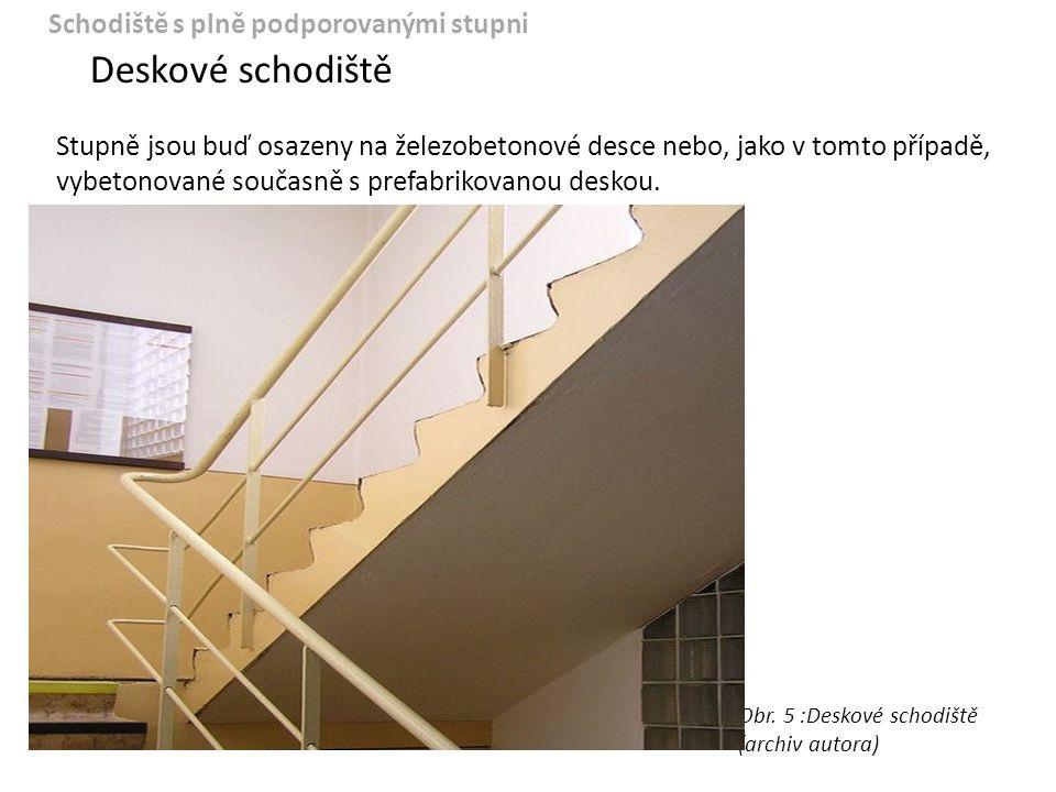 Deskové schodiště Schodiště s plně podporovanými stupni