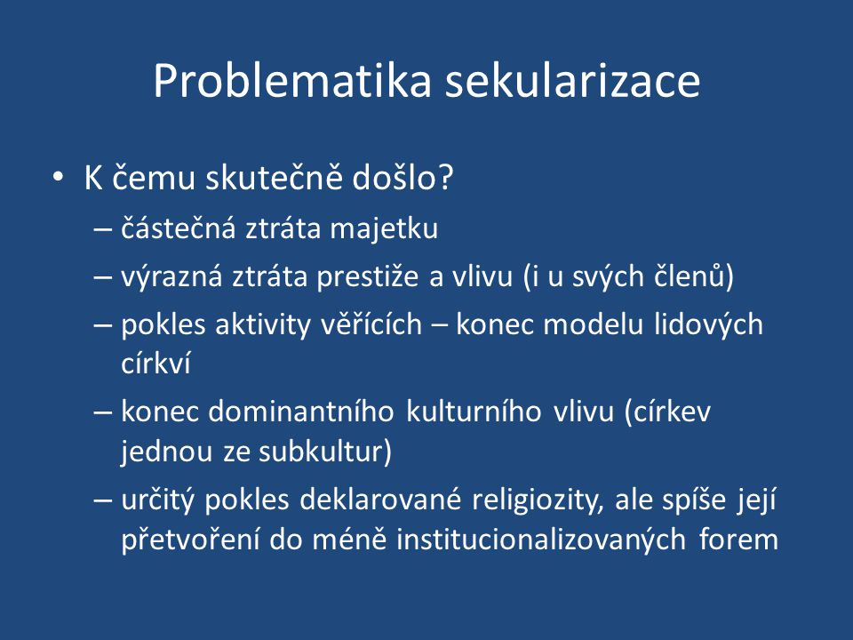 Problematika sekularizace