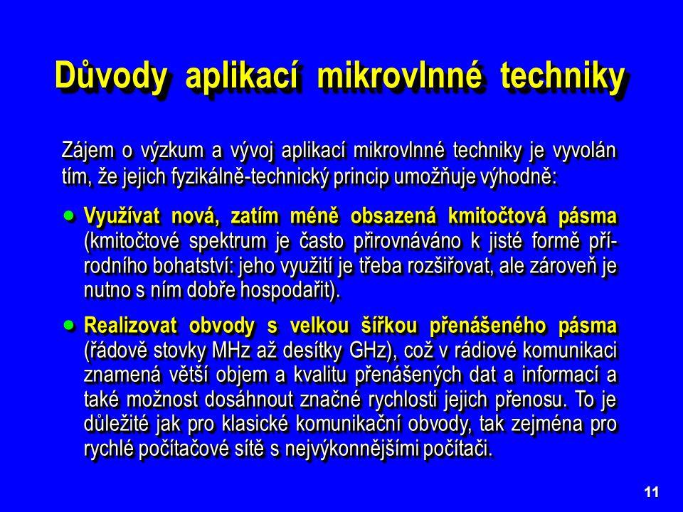 Důvody aplikací mikrovlnné techniky