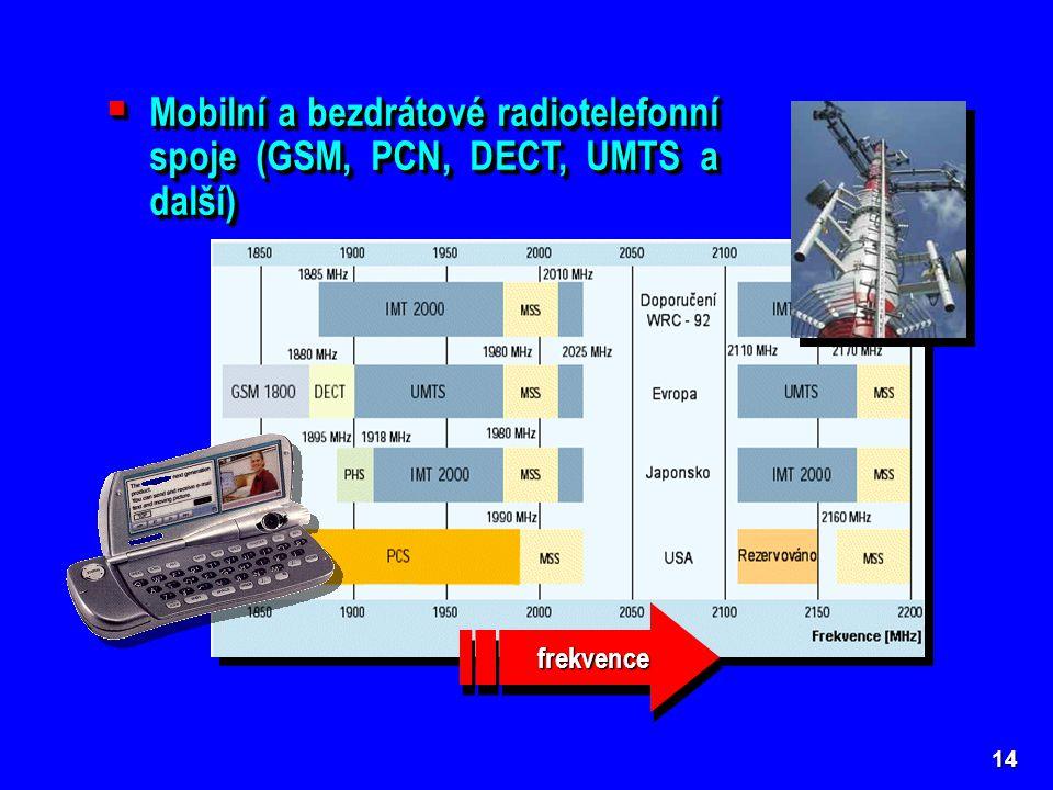 Mobilní a bezdrátové radiotelefonní spoje (GSM, PCN, DECT, UMTS a další)