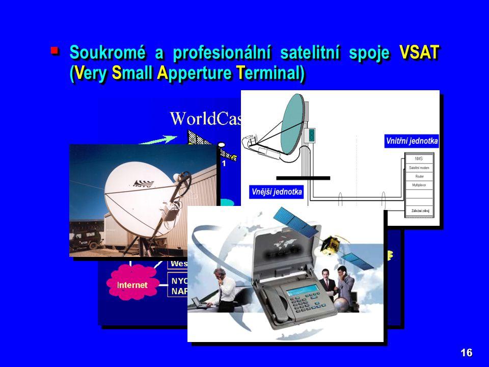 Soukromé a profesionální satelitní spoje VSAT (Very Small Apperture Terminal)