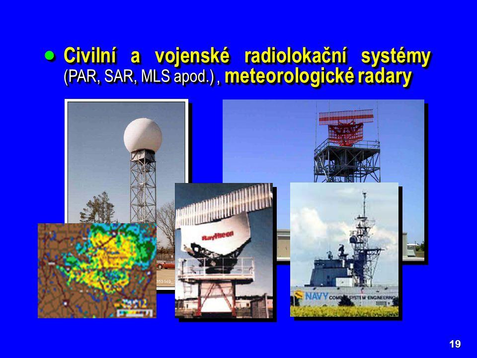 Civilní a vojenské radiolokační systémy (PAR, SAR, MLS apod.)