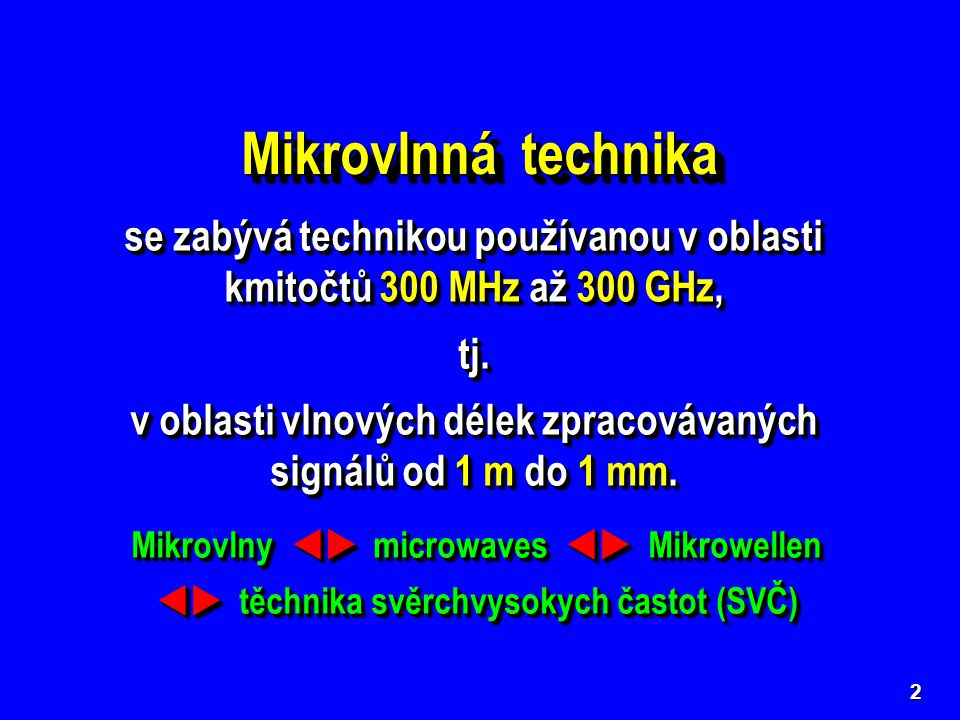 Mikrovlnná technika se zabývá technikou používanou v oblasti kmitočtů 300 MHz až 300 GHz, tj.