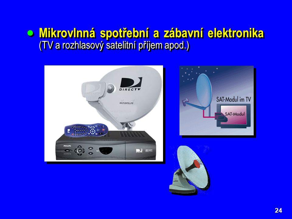 Mikrovlnná spotřební a zábavní elektronika (TV a rozhlasový satelitní příjem apod.)