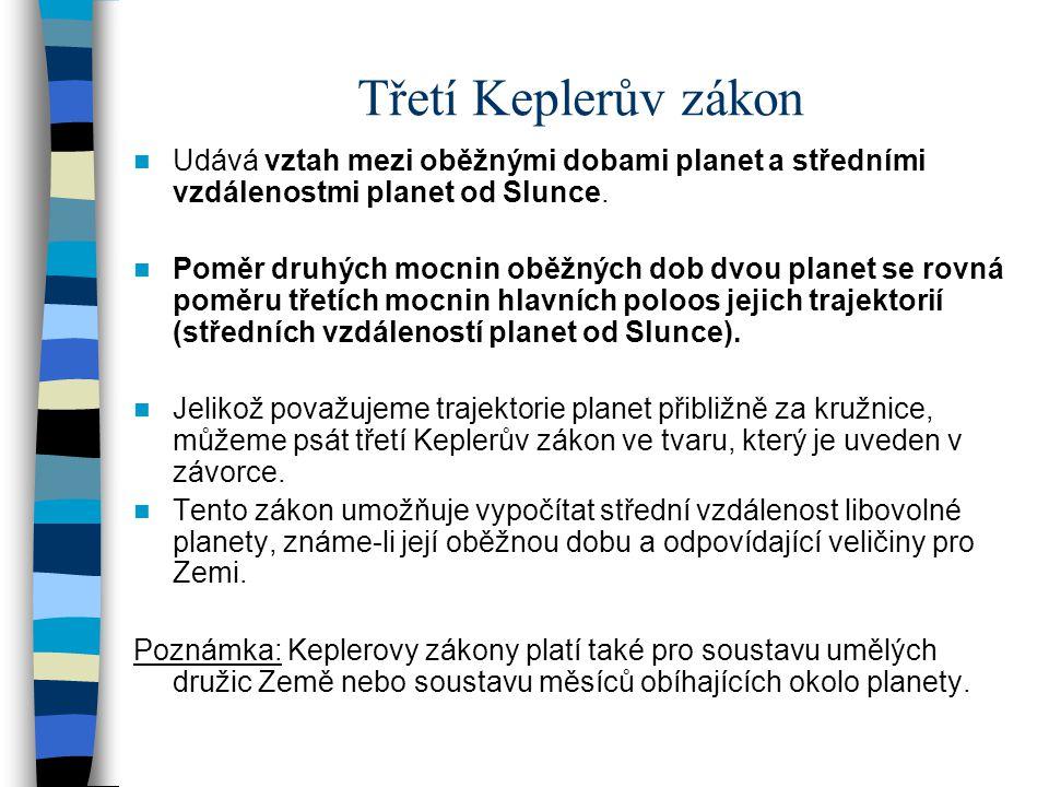 Třetí Keplerův zákon Udává vztah mezi oběžnými dobami planet a středními vzdálenostmi planet od Slunce.