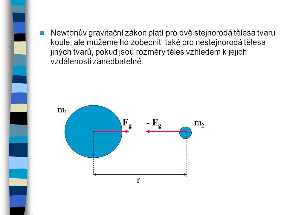 Newtonův gravitační zákon platí pro dvě stejnorodá tělesa tvaru koule, ale můžeme ho zobecnit také pro nestejnorodá tělesa jiných tvarů, pokud jsou rozměry těles vzhledem k jejich vzdálenosti zanedbatelné.