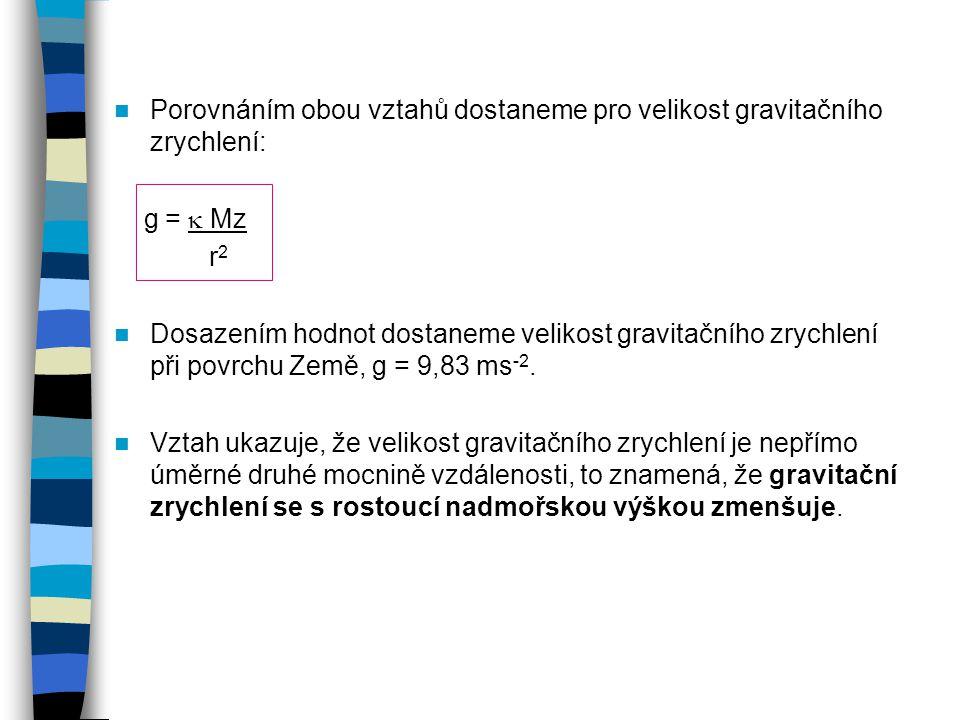 Porovnáním obou vztahů dostaneme pro velikost gravitačního zrychlení: