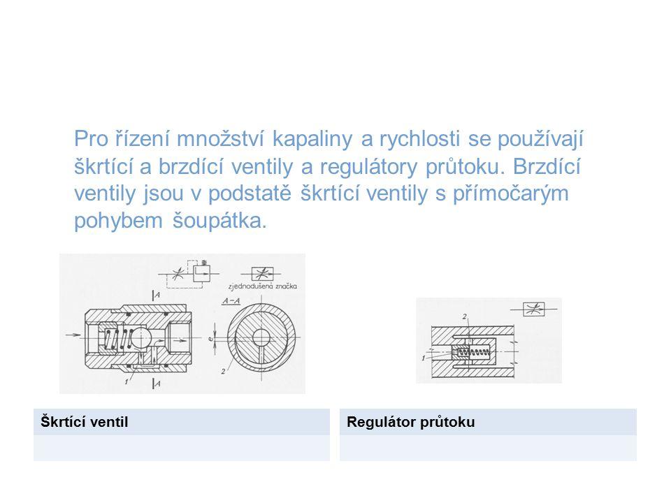 Pro řízení množství kapaliny a rychlosti se používají škrtící a brzdící ventily a regulátory průtoku. Brzdící ventily jsou v podstatě škrtící ventily s přímočarým pohybem šoupátka.