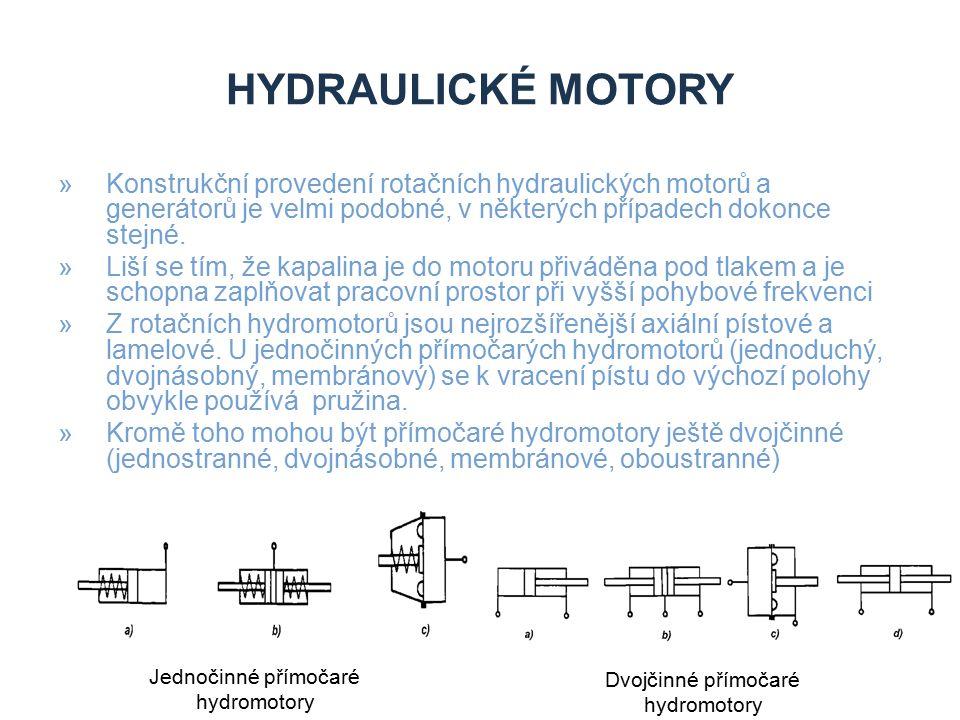 Hydraulické motory Konstrukční provedení rotačních hydraulických motorů a generátorů je velmi podobné, v některých případech dokonce stejné.