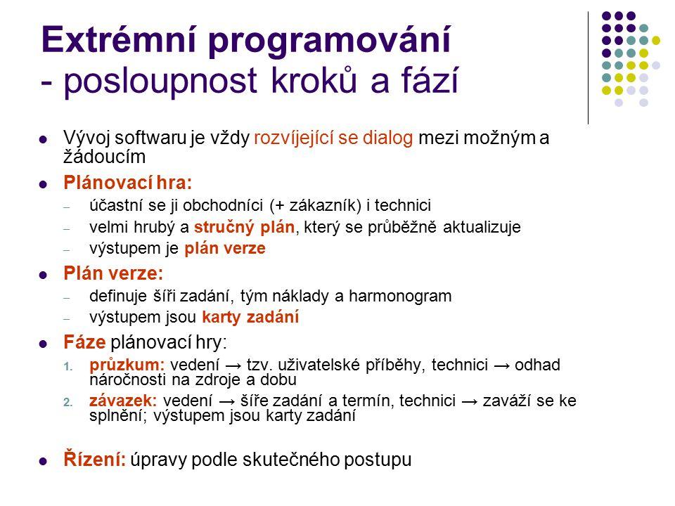 Extrémní programování - posloupnost kroků a fází