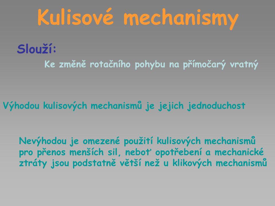 Kulisové mechanismy Slouží: