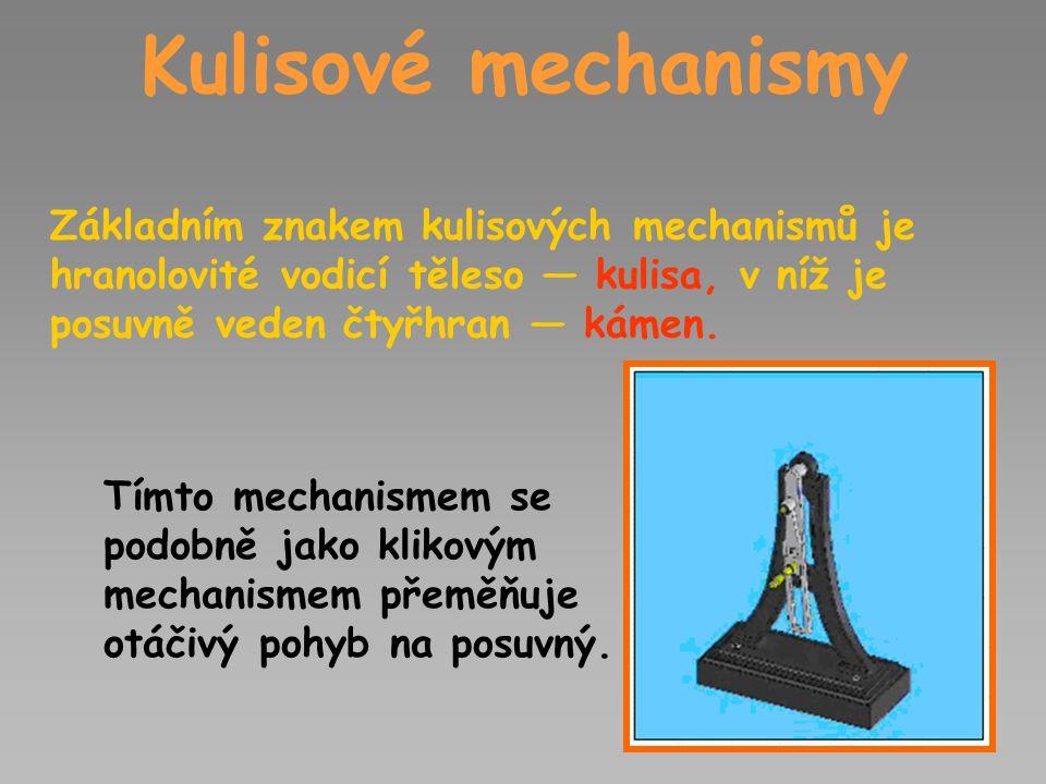 Kulisové mechanismy Základním znakem kulisových mechanismů je hranolovité vodicí těleso — kulisa, v níž je posuvně veden čtyřhran — kámen.
