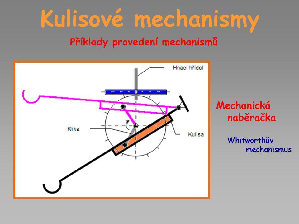 Kulisové mechanismy Příklady provedení mechanismů Mechanická naběračka