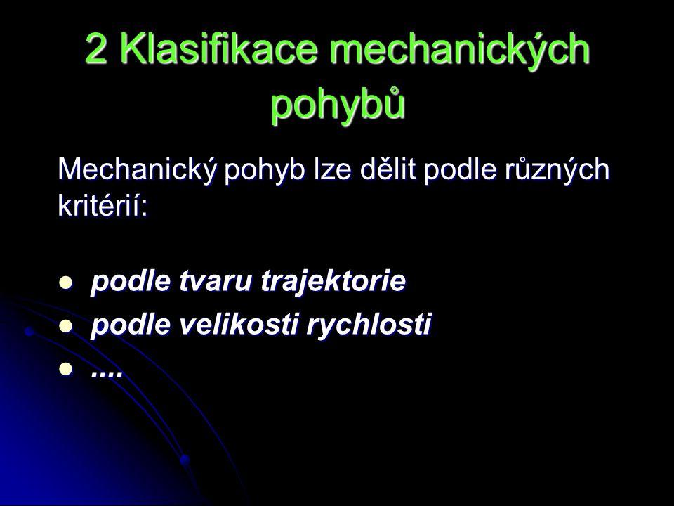 2 Klasifikace mechanických pohybů