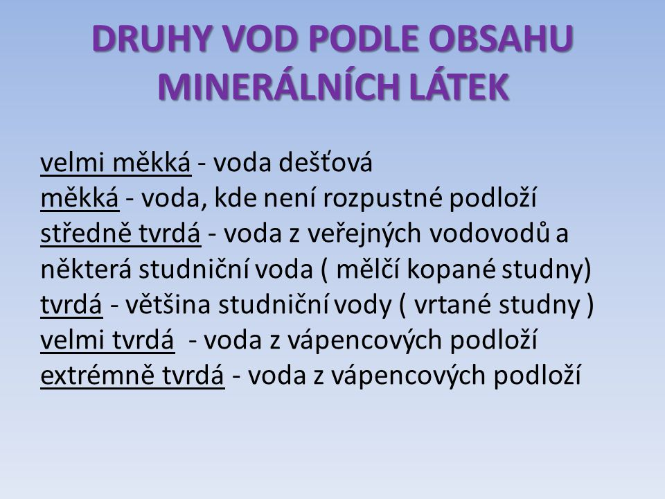 DRUHY VOD PODLE OBSAHU MINERÁLNÍCH LÁTEK