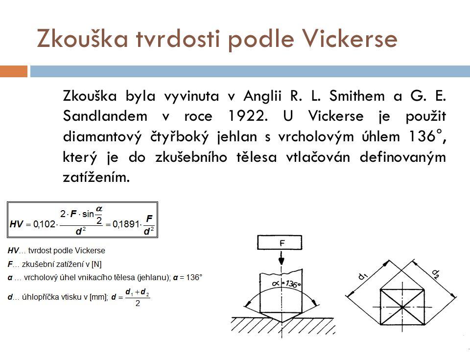 Zkouška tvrdosti podle Vickerse