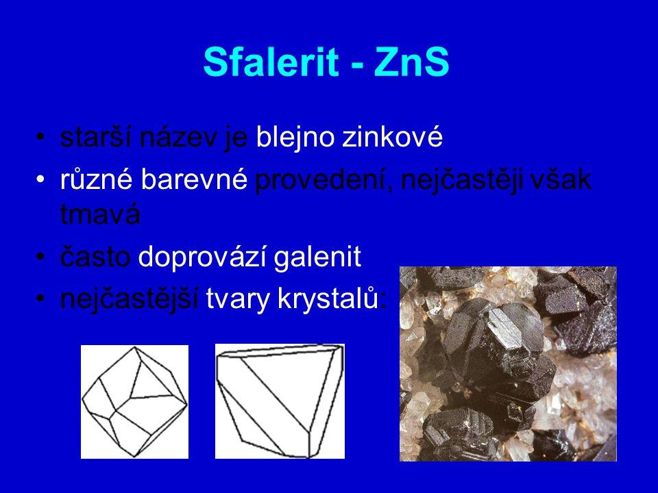 Sfalerit - ZnS starší název je blejno zinkové