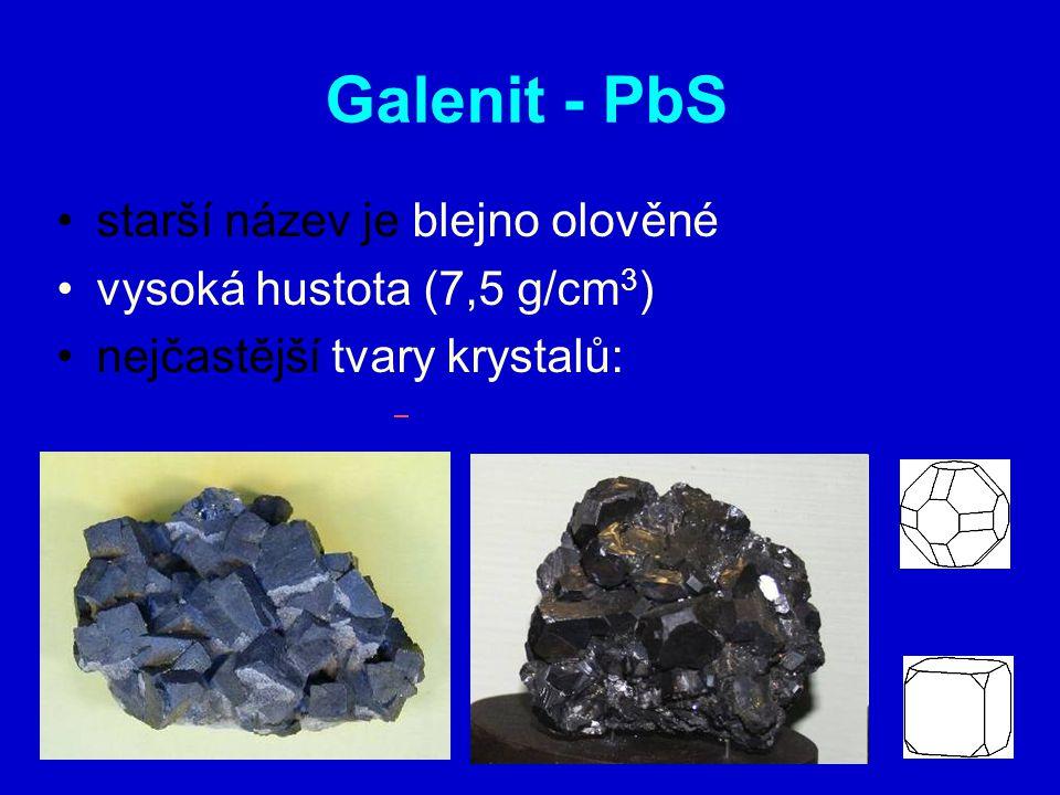 Galenit - PbS starší název je blejno olověné
