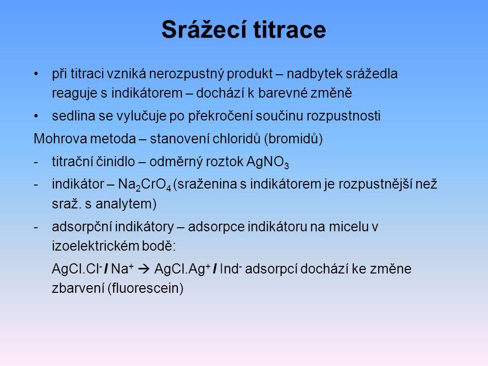 Srážecí titrace při titraci vzniká nerozpustný produkt – nadbytek srážedla reaguje s indikátorem – dochází k barevné změně.