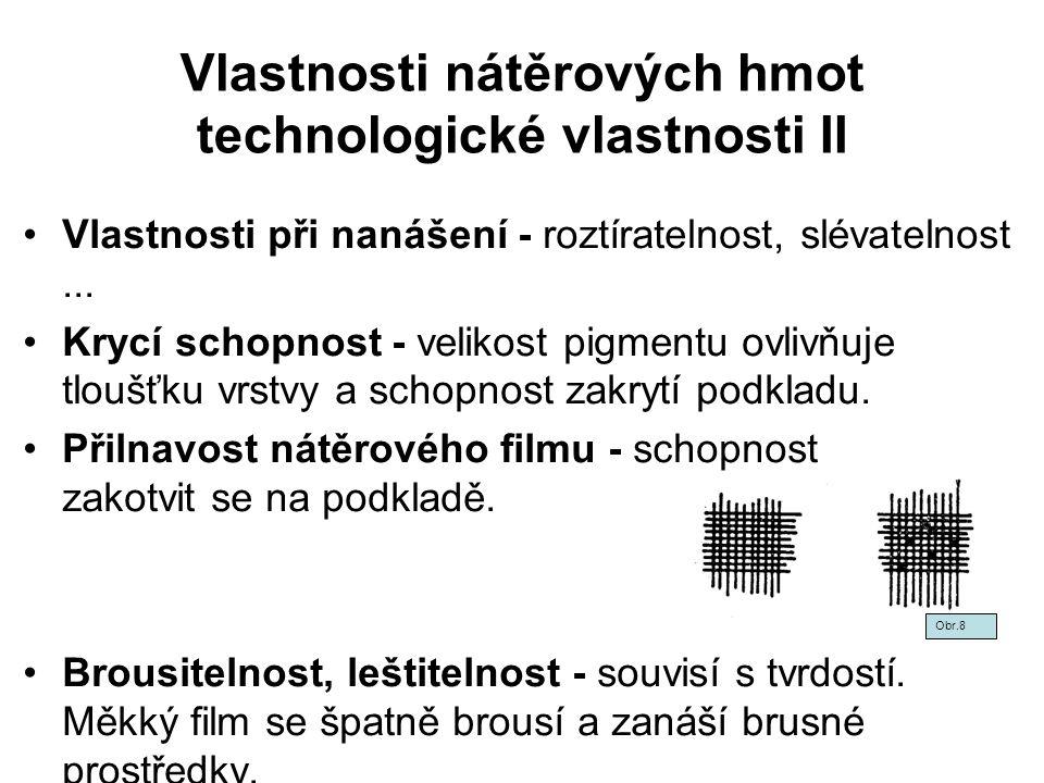 Vlastnosti nátěrových hmot technologické vlastnosti II