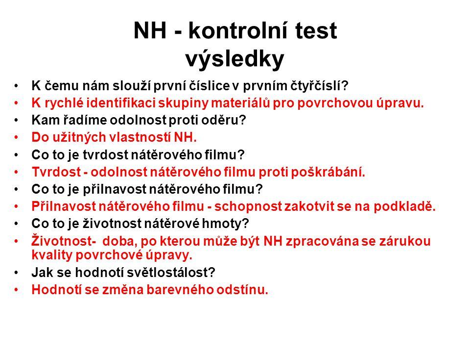 NH - kontrolní test výsledky