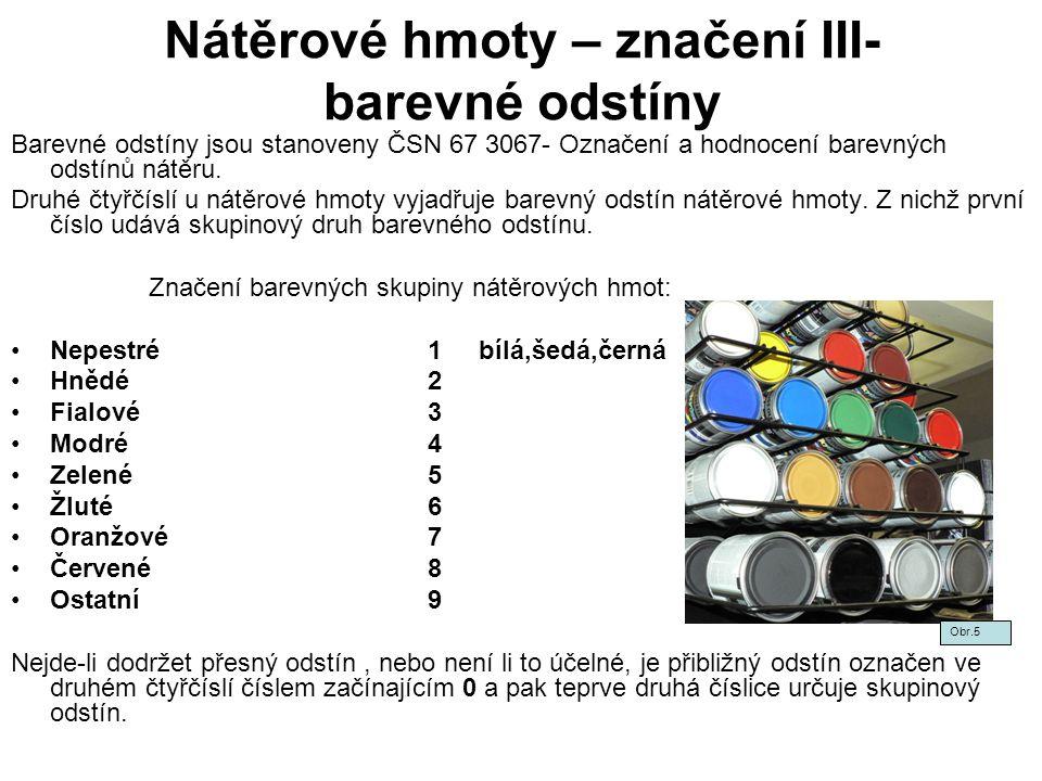 Nátěrové hmoty – značení III- barevné odstíny
