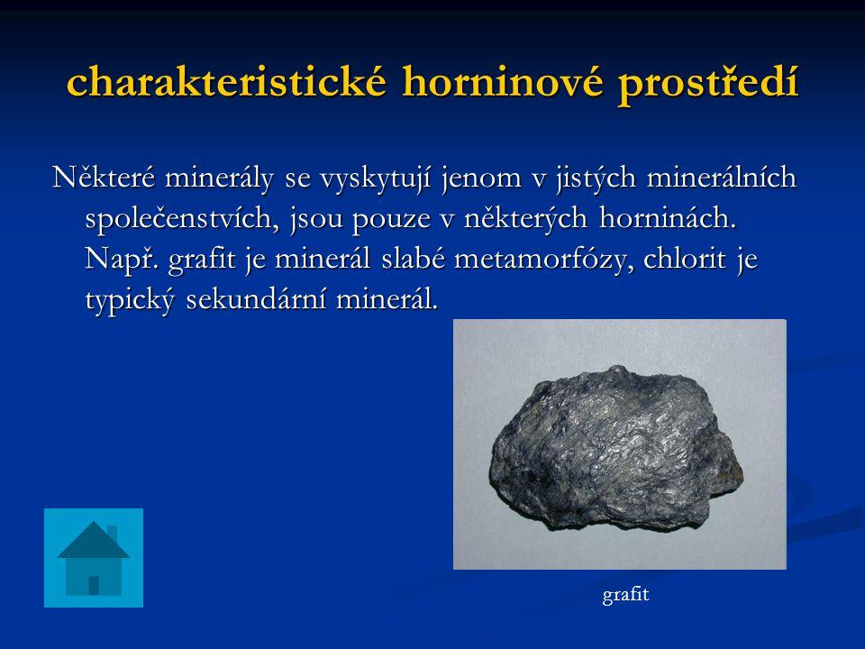 charakteristické horninové prostředí