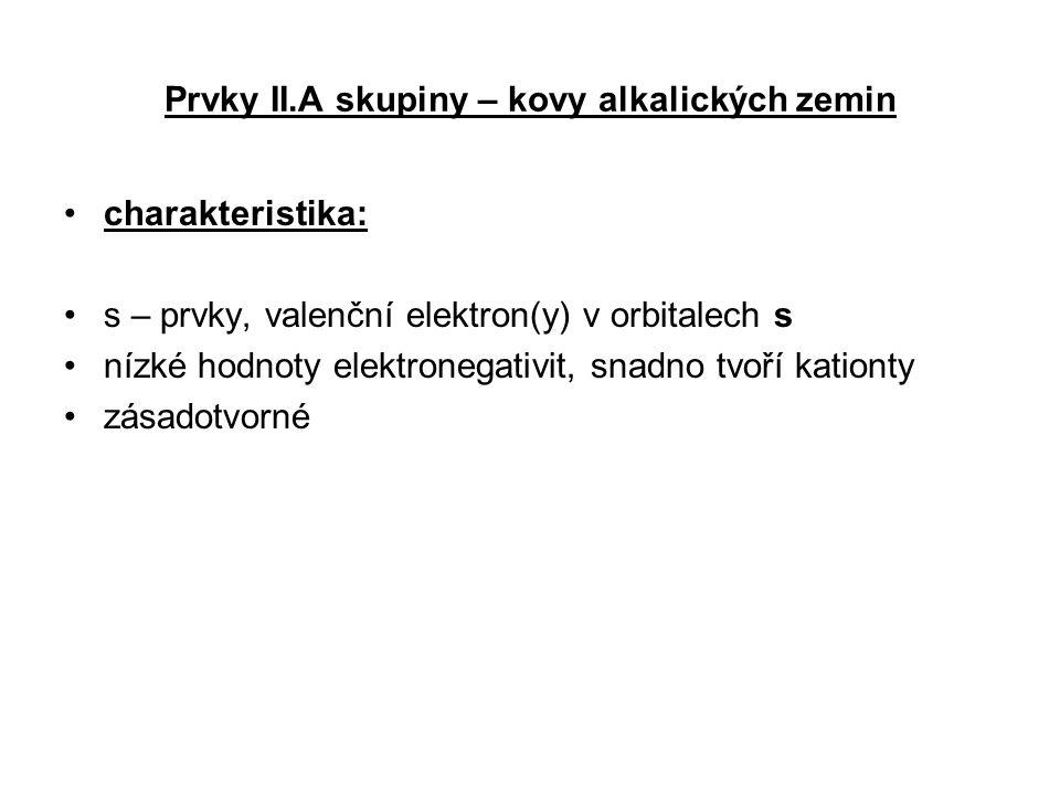Prvky II.A skupiny – kovy alkalických zemin