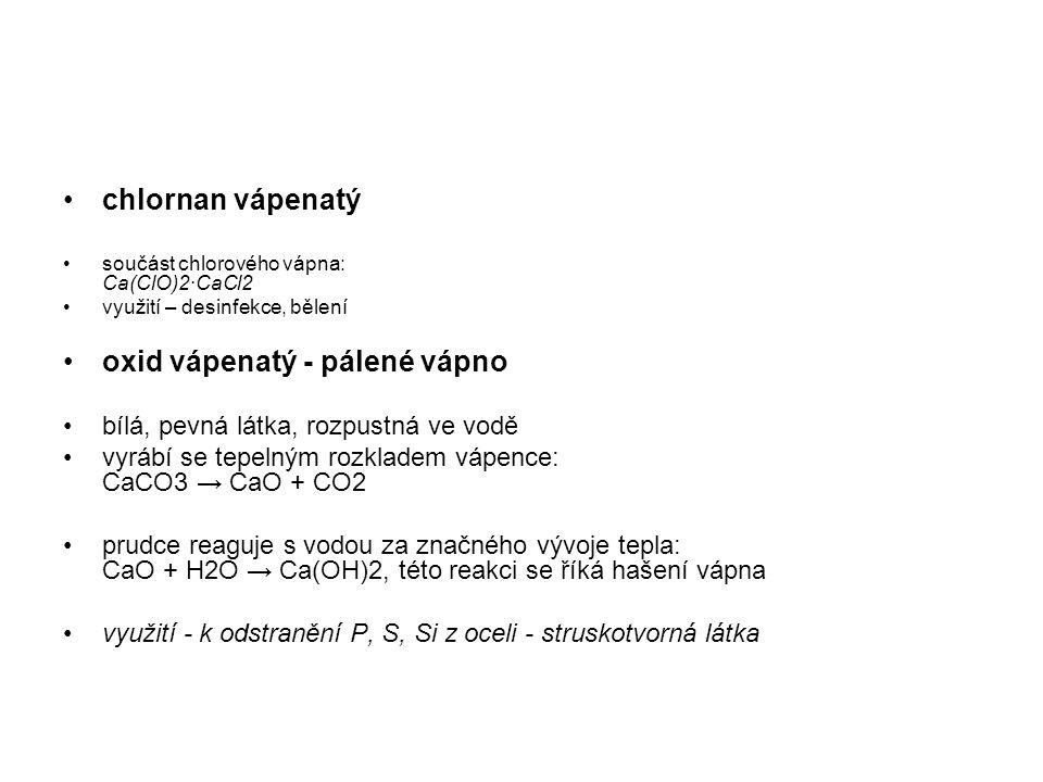 oxid vápenatý - pálené vápno