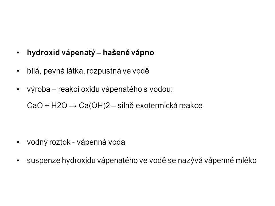 hydroxid vápenatý – hašené vápno