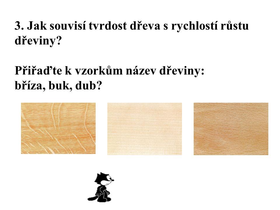 3. Jak souvisí tvrdost dřeva s rychlostí růstu dřeviny