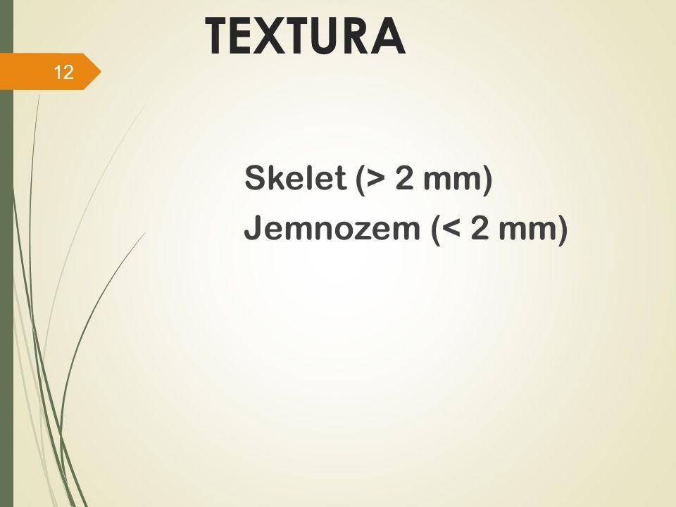 TEXTURA Skelet (> 2 mm) Jemnozem (< 2 mm)