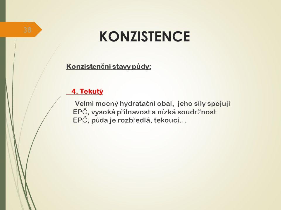 KONZISTENCE Konzistenční stavy půdy: 4. Tekutý