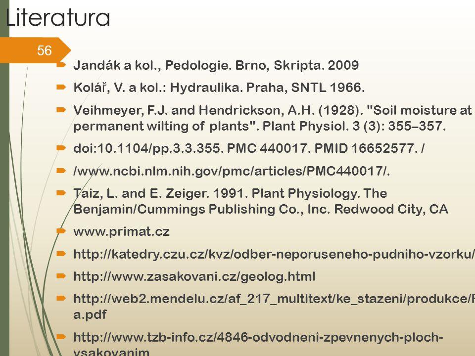Literatura Jandák a kol., Pedologie. Brno, Skripta. 2009