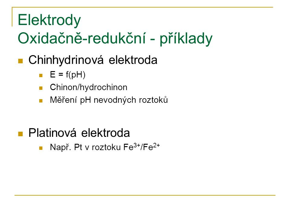 Elektrody Oxidačně-redukční - příklady