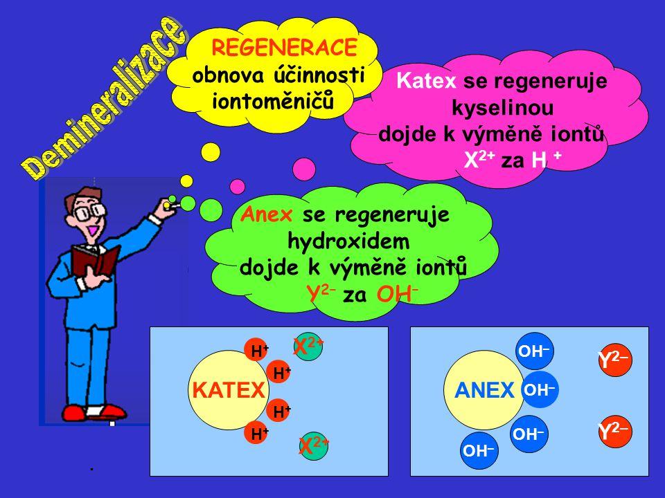 Demineralizace REGENERACE obnova účinnosti iontoměničů